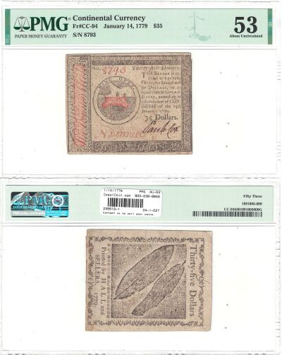 1/14/1779. CC. Thirty Five Dollars. PMG. AU-53.