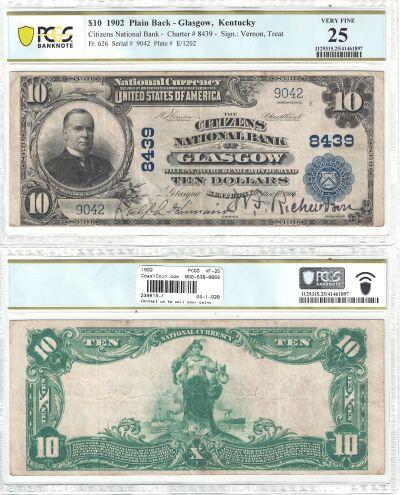 1902. $10. PCGS. VF-25. KY. Glasgow. Charter 8439.