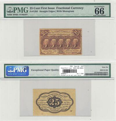 25c. 1st Issue. PMG. Gem-66. EPQ. F-1281.