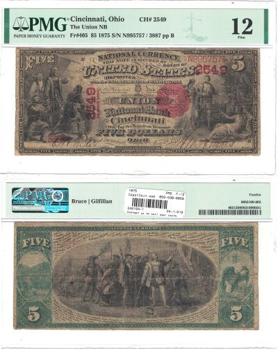 1875. $5. PMG. F-12. OH. Cincinnati. Charter 2549.