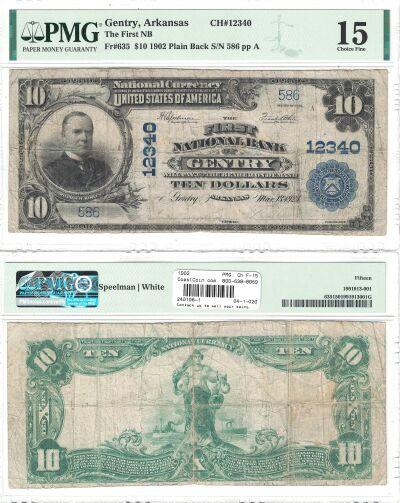 1902. $10. PMG. Ch F-15. AR. Gentry. Charter 12340