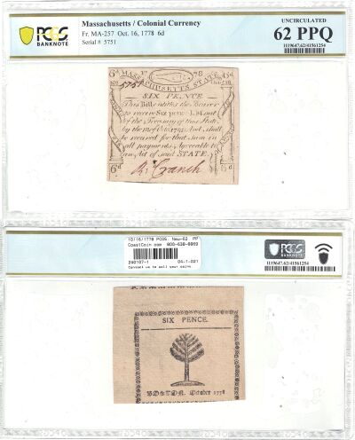 10/16/1778. MA. 6 Pence. PCGS. New-62. PPQ.