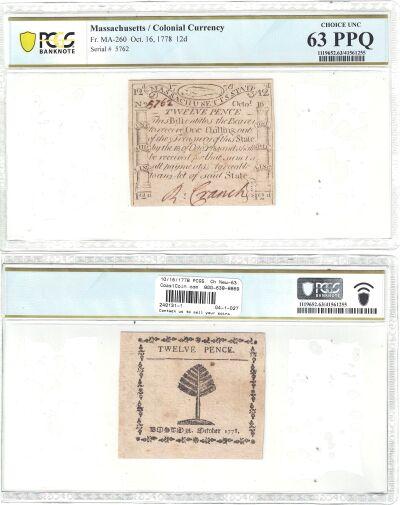 10/16/1778. MA. Twelve Pence. PCGS. Ch New-63. PPQ
