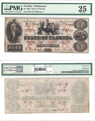 1863. $5. PMG. VF-25. FL.