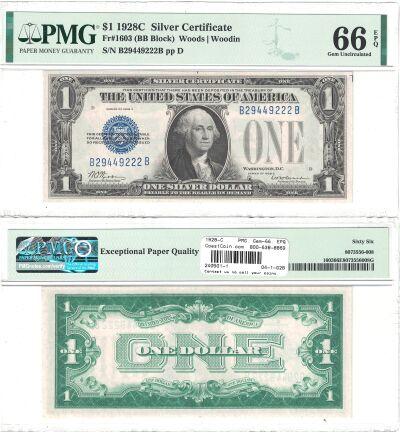 1928-C. $1. F-1603. PMG. Gem-66. EPQ. Silver Certi