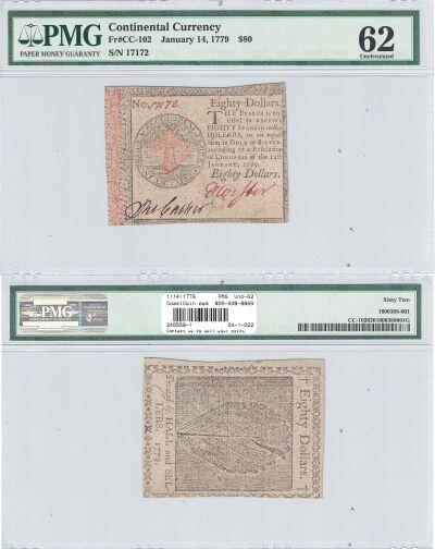 1/14/1779. CC. Eighty Dollars. PMG. Unc-62.
