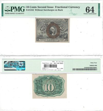 10c. 2nd Issue. PMG. Ch Unc-64. F-1244.