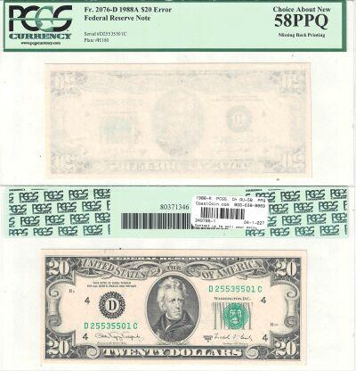 1988-A. $20. PCGS. Ch AU-58. PPQ. Federal Reserve