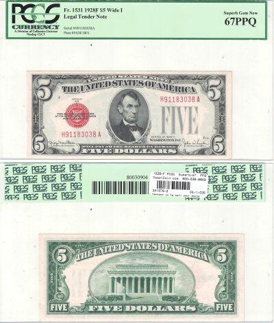1928-F. $5. F-1531. PCGS. Superb-67. PPQ. Legal Te