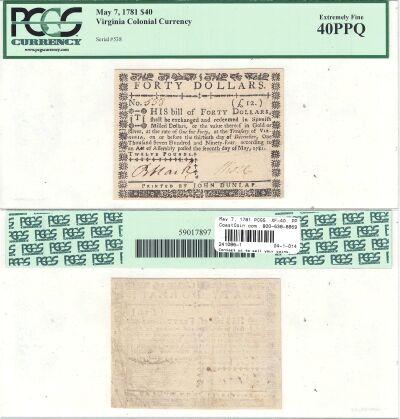 May 7, 1781. VA. Forty Dollars. PCGS. XF-40. PPQ.