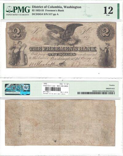 1852. $2. PMG. F-12. DC.