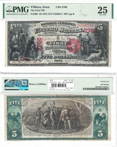 1875. $5. PMG. VF-25. IA. Villisca. Charter 2766.