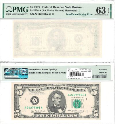 1977. $5. PMG. Ch Unc-63. EPQ. Federal Reserve Not