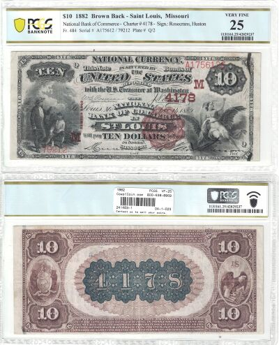 1882. $10. PCGS. VF-25. MO. St. Louis. Charter 417