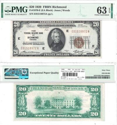 1929. $20. F-1870-E. PMG. Ch Unc-63. EPQ. Federal