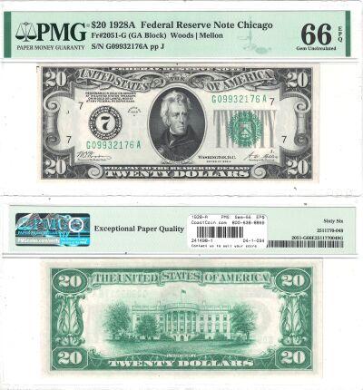 1928-A. $20. F-2051-G. PMG. Gem-66. EPQ. Federal R