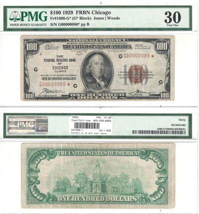 1929*. $100. F-1890-G*. PMG. VF-30. Federal Reserv