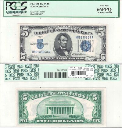 1934-A. $5. F-1651. PCGS. Gem-66. PPQ. Silver Cert